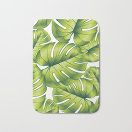 Palm leaves green pattern tropical art decoration Bath Mat