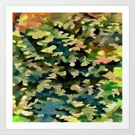 Foliage Abstract In Green, Peach and Phthalo Blue Art Print