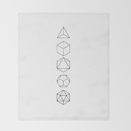Platonic Solids Geometric Print Throw Blanket