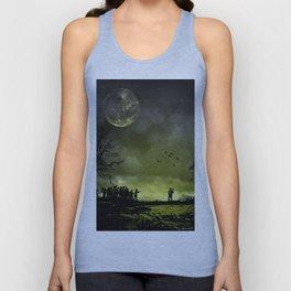 Zombies attack,walking dead,art,artwork,moon,night,scary,zombie Unisex Tank Top
