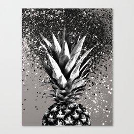 Pineapple Silver Gray Glitter Glam #1 #tropical #fruit #decor #art #society6 Canvas Print