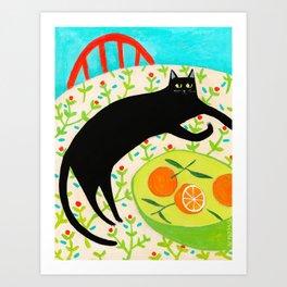 Black Cat with bowl of Oranges Art Print