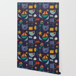 cat and bear pirate purple Wallpaper