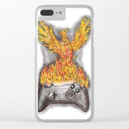 Phoenix Rising Over Game Controller Tattoo Clear iPhone Case