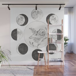 Raven Skull with Moon Cycle Wall Mural