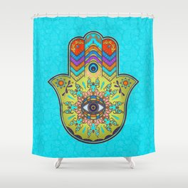 Colorfull  Hamsa Hand with paisley Shower Curtain