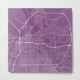 Montgomery Map, USA - Purple Metal Print