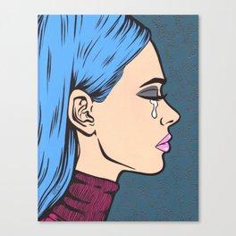 Turtleneck Tears Sad Comic Girl Canvas Print