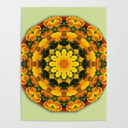 Floral mandala-style, California Poppies Poster
