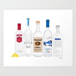 Vodka Bottles Illustration Art Print