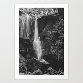 Waterfall is beauty of the nature - Black and white fine art Art Print