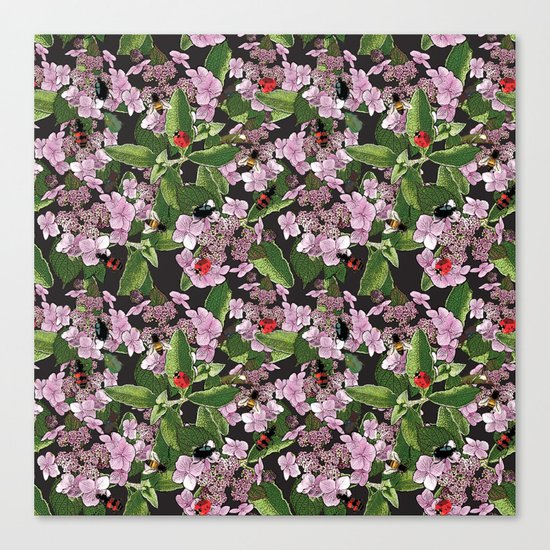 Floral insects pattern Canvas Print