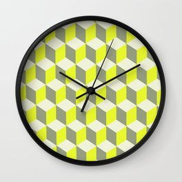 Diamond Repeating Pattern In Limelight Yellow Gray and White Wall Clock