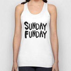 Sunday Funday - black hand lettering Unisex Tank Top