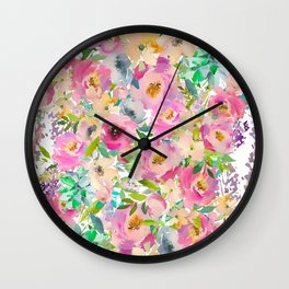 Elegant blush pink lavender green watercolor floral Wall Clock