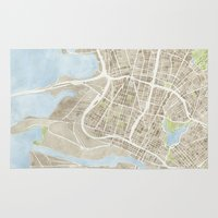 oakland Area & Throw Rugs featuring Oakland California Watercolor Map by Anne E. McGraw