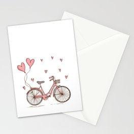 Retro vintage bicycle print with heart shaped balloons Stationery Cards