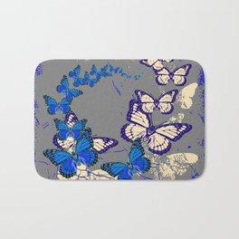 Blue Butterflies Blue & Purple Grey Pattern Abstract Bath Mat
