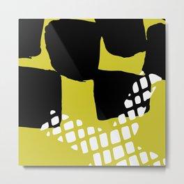 Modern geometrical black neon yellow white abstract pattern Metal Print