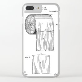 Toilet Paper Patent - Bathroom Art - Black And White Clear iPhone Case