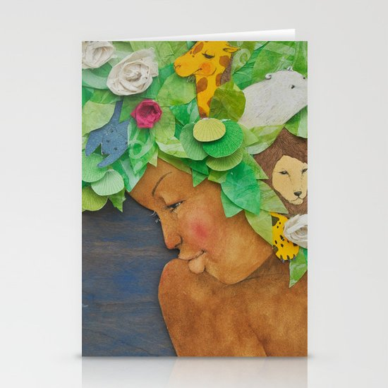 COLLAGE LOVE: Africa, the mother nature  Stationery Cards