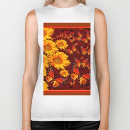Golden Yellow Sun flowers & Orange Monarchs Brown Art Biker Tank