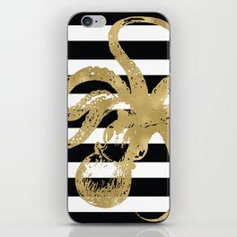 Gold Octopus on Black & White Stripes iPhone Skin