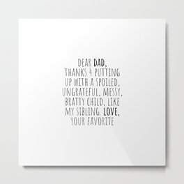 Dear Dad Metal Print