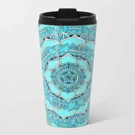 Mandala: Floral Blues Metal Travel Mug