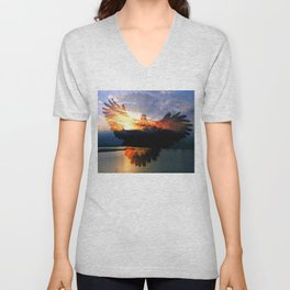Sunset And Young Black Hawk By Annie Zeno  Unisex V-Neck