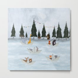 the great paper boat race Metal Print