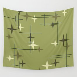 Mid Century Modern Stars Olive Green Wall Tapestry