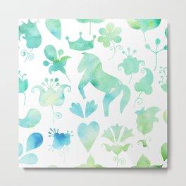 Watercolor horse and ornamental plants Metal Print