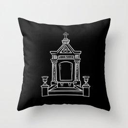 Single tomb black wide Throw Pillow