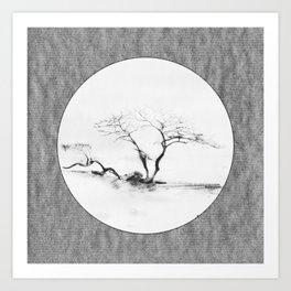 Scots Pine Paper Bag Grey Art Print