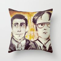 dwight schrute Throw Pillows featuring Michael & Dwight by Melissa Dilger