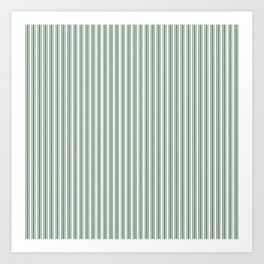 Classic Small Green Boot Green French Mattress Ticking Double Stripes Art Print