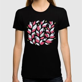 Pretty Plant With White Pink Leaves And Ladybugs T-shirt