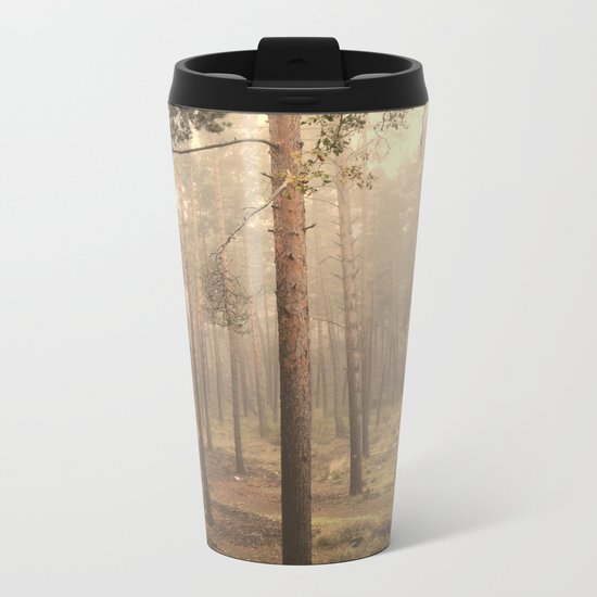 """Rectilineum"". Secret places. Foggy dreams. Retro Metal Travel Mug"