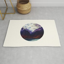 Mid Century Modern Round Photo Purple Parallax Mountains Meets Blue Valley Lake With Autumn Trees Rug
