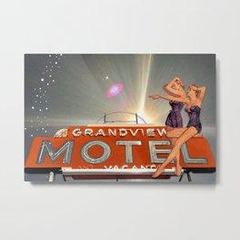 "Pin-Up Girl ""Midnight at the Grandview Motel"" Metal Print"