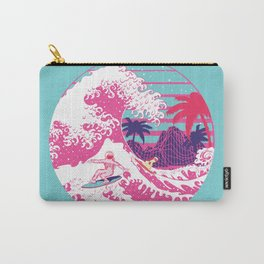Spaceman surfing The Great pink wave Carry-All Pouch