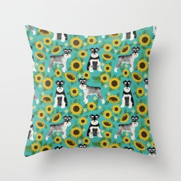 Schnauzer sunflowers spring summer floral dog breed dog pattern pet friendly Throw Pillow