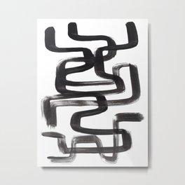 Black And White Minimalist Mid Century Abstract Ink Art Ink Maze Brush Strokes Minimal Metal Print