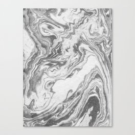 Akio - black and white grey minimal modern abstract marble painting retro minimalism urban bklyn Canvas Print