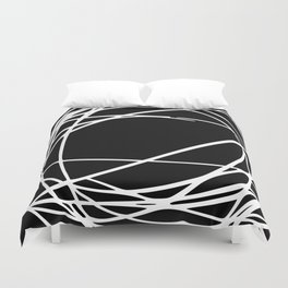 Black and White Circles and Swirls Modern Abstract Duvet Cover