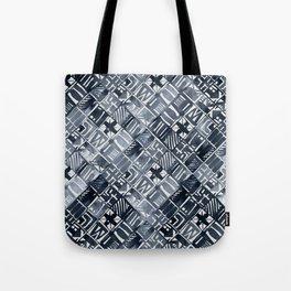 Simply Tribal Tiles in Indigo Blue on Lunar Gray Tote Bag
