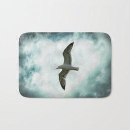 Seagull Before A Cloudy Sky Bath Mat