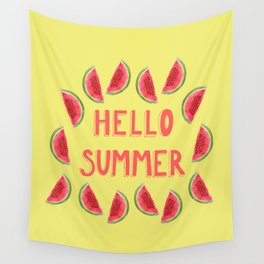 Hello Summer Watercolor Handlettered Painting - Yellow Background Wall Tapestry