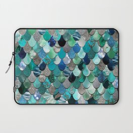 Mermaid Sea, Teal, Aqua, Silver, Grey Laptop Sleeve